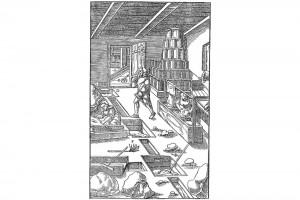 """Das Gerinne (2). Holzschnitt in Georg Agricolas """"De re metallica"""", achtes Buch, 1556 (Alexandre-Bidon 2000, S. 199, Fig. 05)"""