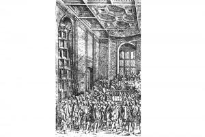Kaiserliche Tafel in der Wiener Hofburg. Radierung von Hans Sebald Lautensack in Francolins Turnierbuch, 1560 (Franz 1981, S. 63, Fig. 20)