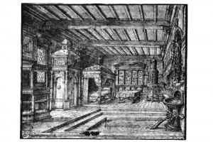 Badestube. Zeichnung von Hans Vredemann de Vries, um 1558 (Franz 1981, S. 97, Fig. 33)