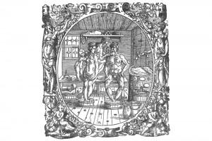 Die Badestube. Holzschnitt von Jost Amman, 1565 (Alexandre-Bidon 2000, S. 201, Fig. 08)