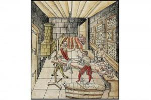 """""""Practica Copiosa von dem Rechten Grundt Deß Bruch Schnidts"""" von Caspar Stromayr. Bebildertes Manuskript, Lindau, Reichsstädtische Bibliothek, 1559-1567 (Henkel 1999, S. 23, Abb. A 63)"""