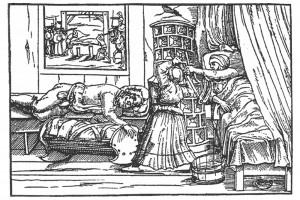 Moritat von Oberhasel: Die Tochter erschlägt ihren Vater. Holzschnitt eines unbekannten Meisters, 1567 (Bedal 1997, S. 51)