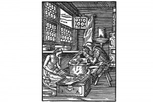 Handwerker in einer Stube mit einem Kachelofen. Holzschnitt aus dem Zunftbüchlein von Jost Amman, 1568 (Alexandre-Bidon 2000, S. 202, Fig. 09)