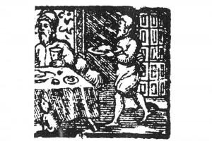 Das Aufwarten. Kupferstich aus einem Deventer Almanach, 1575 (Hazlbauer 2003, S. 180, Abb. 2)