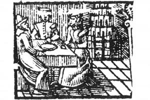 Kartenspieler. Kupferstich aus einem Deventer Almanach, 1575 (Hazlbauer 2003, S. 179, Abb. 3)