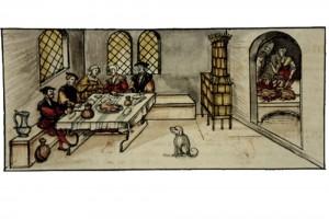 Lorenz Fries, Chronik der Bischöfe von Würzburg: Gansessen der Bürger in der St. Martinsnacht. Martin Seger, Würzburg, 1582