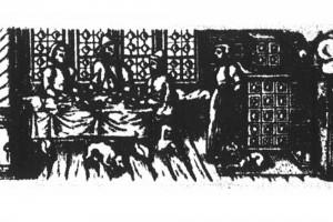 Monatsfolge: Dezember. Kupferstich eines unbekannten Meisters, Süddeutschland , 1584