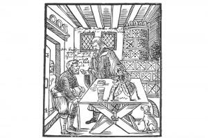 Flugblatt. Holzschnitt von David Sartorius, 1588