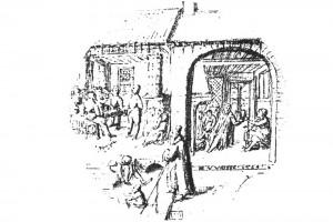 Genreszene. Zeichnung vin Vredemann de Vries , 1589 (Hazlbauer 2003, S. 182, Abb. 1)