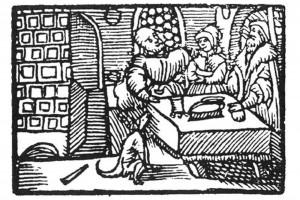 Gastmahl in einem Patrizierhaus. Holzschnitt, Ende 16. Jh. (Dąbrowska 1987, S. 141, Abb. 13)