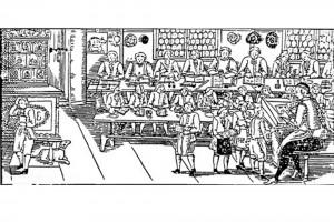 Lateinschule. Holzschnitt eines unbekannten Meisters in der Nachfolge von Albrecht Schmid, Nürnberg, Ende 16. Jahrhundert (Alexandre-Bidon 2000, S. 204, Fig. 11)