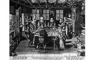 Familie beim Tischgebet. Kupferstich von Dominicus Custos (nach 1550 - 1612), um 1600