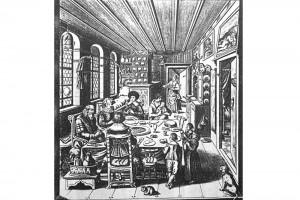Familie beim Tischgebet. Kupferstich von Rahael Custos (1590 - 1664), Augsburg, um 1600