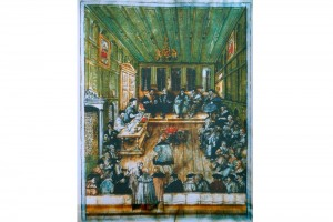 Einzug der sechs Handwerksvertreter in den Rat in Augsburg. Zeichnung, Augsburg, um 1600
