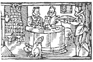 Pilsner Kalender: Januar mit Gastmahl. Holzschnitt von J. Wittenberg , 1604 (Hazlbauer 2003, S. 180, Abb. 3)