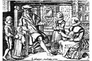 Spiegel einer Christlichen und friedsamen Haußhaltung. Kupferstich von Johann Bussenmacher, Köln, 1615