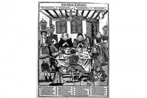 Eine schöne Tischzucht. Holzschnitt von Abraham Bach, um 1620