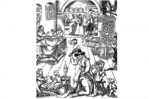 Häusliche Eintracht durch das Regiment des Mannes. Holzschnitt von Abraham Bach, um 1620 (Roth Heege 2012, S. 164, Abb. 273)