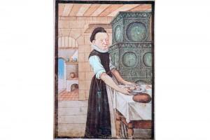 Hausbuch der Mendelschen Zwölfbrüderstiftung: Margarete Wagner. Kolorierte Zeichnung, Nürnberg, 1633 (Bedal 1997, S. 53)