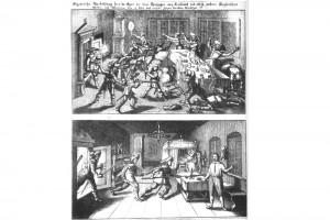 Flugblatt mit Wallensteins Ermordung zu Eger im Jahre 1634. Kupferstich, nach 1634