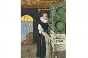 Hausbuch der Mendelschen Zwölfbrüderstiftung: Sibilla Michel. Kolorierte Zeichnung, Nürnberg, 1637