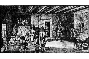 Jagdimbiss. Zeichnung von Johann Jakob Arharhardt, 1641