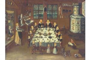 Landvogt Conrad Bodmer zu Tisch auf Schloss Greifensee. Ölgemälde, 1643 (Roth Heege 2012, S. 163, Abb. 272)