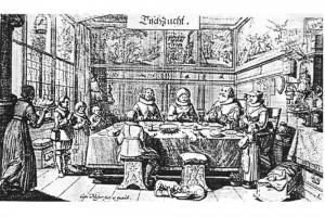 Tischzucht. Kupferstich von Conrad Meyer, 1645