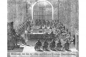 Die Koalition des schwedisch-kaiserlichen Hauptrezesses in der Nürnberger Burg. Kupferstich von Johann Haeberlin, 1650
