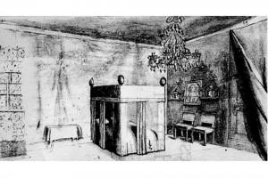 Innenräume eines Badischen Schlosses. Zeichnung der Markgräfin Elisabeth von Baden (1620-1692), um 1650