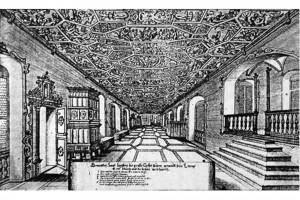 Prunksaal eines Schlosses. Kupferstich, 1673