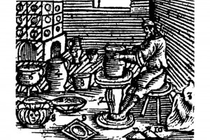 Orbis pictus sensualiu: Töpfer in seiner Wekstatt. Holzschnitt, 1679 (Alexandre-Bidon 2000, S. 200, Fig. 06)