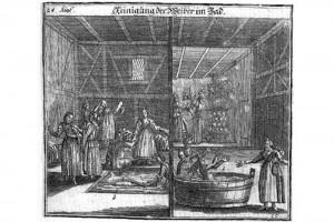 Paul Christian Kirchner, Jüdisches Ceremoniel: Reinigung der Weiber im Bad. Kupferstich, Nürnberg, 1734 (Henkel 1999, S. 34, Abb. A. 87)