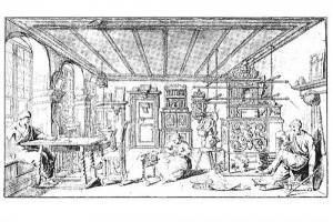 Stube mit Ofen. Federzeichnung, Augsburg (?), dat. 1736 (Roth Heege 2012, S. 165, Abb. 275)