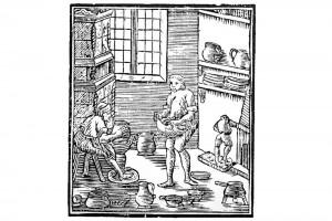 Töpfer in seiner Werkstatt. Holzschnitt von Erik Kjellberg, 1753