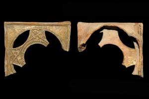 Fragment einer Napfkachel mit durchbrochenem Vorsatzblatt mit dreipassbesetztem Medaillon, gelb glasiert, 2. Drittel 14. Jh., H. 12,5 cm, Br. 14,9 cm, T. 4,4 cm Speyer, Historisches Museum der Pfalz