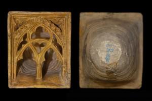 Fragment einer Napfkachel mit durchbrochenem Vorsatzblatt mit grabbenbesetztem Segmentbogen, gelb glasiert, 2. Drittel 14. Jh., H. 22,6 cm, Br. 19,0 cm, T. 17,0 cm Düsseldorf, Hetjens-Museum