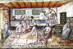 Stammbuch des Abel Prasch: Die Badestube. Kolorierte Zeichnung, Augsburg, um 1580 (Loibl 2008, S.79)